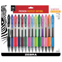 Zebra 46824 Sarasa Assorted Ink with Assorted Barrel Color 0.7mm Retractable Gel Pen - 14/Pack