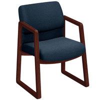 HON 2403NAB90 2400 Series Mahogany / Blue Fabric Guest Arm Chair