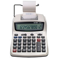 Victor 1208-2 12-Digit Black / Red Two-Color Compact Printing Calculator - 2.3 Lines Per Second