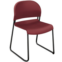 HON 4031MBT GuestStacker Mulberry Stackable Chair with Black Frame - 4/Carton