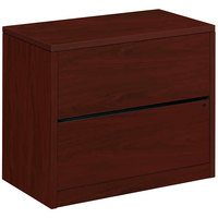 HON 10563NN 10500 Series Mahogany Full-Suspension Two-Drawer Lateral Filing Cabinet - 36 inch x 20 inch x 29 1/2 inch