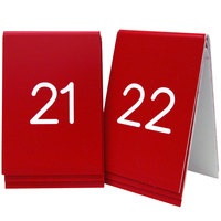 Cal-Mil 271-1 Red Replacement Engraved Number Tent Sign - 3 1/2 inch x 5 inch