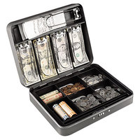 Steelmaster 2216190G2 11 13/16 inch x 9 7/16 inch x 3 3/16 inch Charcoal Cash Box with Combination Lock