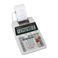 Sharp EL-1750V 12-Digit Battery Powered Black / Red Two-Color Printing Calculator - 2 Lines Per Second