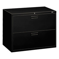 HON 582LP 500 Series Black Two-Drawer Lateral Filing Cabinet - 36 inch x 19 1/4 inch x 28 3/8 inch