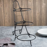 Clipper Mill by GET IR-511 10 inch Black Powder Coated Iron Round 3-Tier Pizza Stand