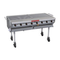 MagiKitch'n NPG-60-SS 62 1/2 inch Natural Gas Portable Stainless Steel Outdoor Grill - 160,000 BTU