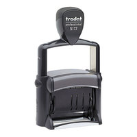 Trodat USST5117 2 1/4 inch x 3/8 inch Black Self-Inking Professional 12-Message and Date Stamp