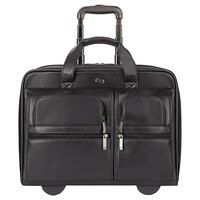 Solo D9574 Franklin 16 3/4 inch x 7 inch x 13 inch Black Classic Leather Rolling Case