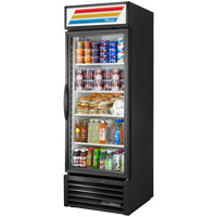 True GDM-23-HST-HC~TSL01 Black One Section Glass Door Refrigerated Merchandiser with LED Lighting and Health Safety Timer