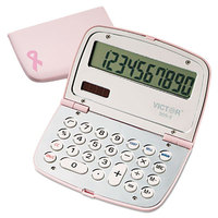 Victor 909-9 10-Digit LCD Solar Battery Powered Compact Limited Edition Pink Calculator