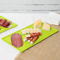 Tablecraft CW2106LG 13 1/4 inch x 6 3/4 inch x 3/8 inch Lime Green Cast Aluminum Rectangular Cooling Platter