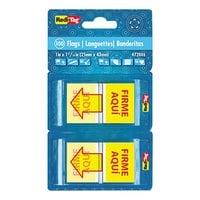 Redi-Tag 72046 Spanish Yellow 1 inch x 11/16 inch Firmar Aqui Pop-Up Page Flag with Dispenser