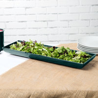 Tablecraft CW11047HGNS 25 inch x 8 inch x 2 1/2 inch Hunter Green with White Speckle Cast Aluminum Flared Rectangular Platter