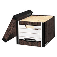 Fellowes 00725 Banker's Box R-KIVE 12 3/4 inch x 16 1/2 inch x 10 3/8 inch Woodgrain Letter/Legal Sized File Storage Box with Lift-Off Lid - 12/Case