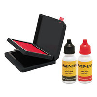 U. S. Stamp & Sign 6193 2 3/8 inch x 4 inch Red and Black Two-Color Pre-Inked Stamp Pad with Ink Refill