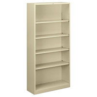HON S72ABCL Putty 5 Shelf Metal Bookcase 34 1/2 inch x 12 5/8 inch x 71 inch
