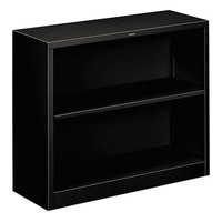 HON S30ABCP Black 2 Shelf Metal Bookcase 34 1/2 inch x 12 5/8 inch x 29 inch