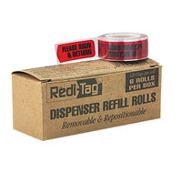 Redi-Tag 91037 Red 1 3/4 inch x 9/16 inch Please Sign & Return Arrow Page Flag Dispenser Refill - 720/Box