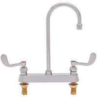 Fisher 97489 Deck Mounted Faucet with 8 inch Centers, 12 inch Rigid Gooseneck Nozzle, 2.2 GPM Aerator, and Wrist Handles