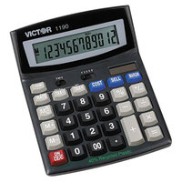 Victor 1190 12-Digit LCD Solar Battery Powered Executive Desktop Calculator