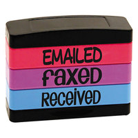 Stack Stamp USS8800 1 13/16 inch x 5/8 inch Assorted Fluorescent Ink Emailed, Faxed, and Received Message Stamp