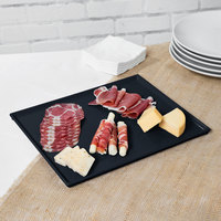 Tablecraft CW2112MBS 12 7/8 inch x 10 1/2 inch x 3/8 inch Midnight with Blue Speckle Cast Aluminum Rectangular Cooling Platter