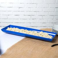 Tablecraft CW11047CBL 25 inch x 8 inch x 2 1/2 inch Cobalt Blue Cast Aluminum Flared Rectangular Platter