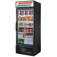 True GDM-26-HST-HC~TSL01 Black Glass Door Refrigerated Merchandiser with LED Lighting and Health Safety Timer