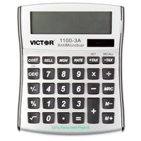 Victor 1100-3A 10-Digit LCD Solar Battery Powered Compact Desktop Calculator with Antimicrobial Coating