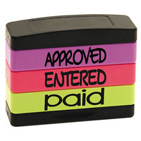 Stack Stamp USS8802 1 13/16 inch x 5/8 inch Assorted Fluorescent Ink Approved, Entered, Paid Message Stamp