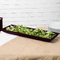 Tablecraft CW11047MRS 25 inch x 8 inch x 2 1/2 inch Maroon Speckle Cast Aluminum Flared Rectangular Platter