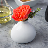 Core by Acopa 3 1/4 inch Bright White Porcelain Bulb Bud Vase - 12/Case