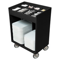 Cambro TC1418110 Black Tray and Silverware Cart with Pans and Vinyl Cover - 32 inch x 21 inch x 46 inch