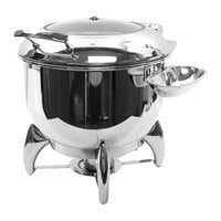 Tablecraft CW40178 11 Qt. Round Stainless Steel Quick View Induction / Traditional Soup Chafer with Stand
