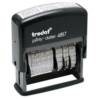 Trodat USSE4817 Economy 2 inch x 3/8 inch Black Self-Inking 12-Message Date Stamp