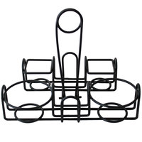 Clipper Mill by GET 4-93736 9 inch x 7 inch Black Wire 4-Compartment Condiment Caddy