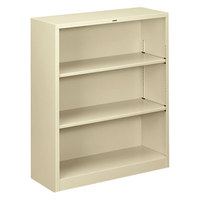 HON S42ABCL Putty 3 Shelf Metal Bookcase 34 1/2 inch x 12 5/8 inch x 41 inch