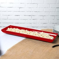 Tablecraft CW11047R 25 inch x 8 inch x 2 1/2 inch Red Cast Aluminum Flared Rectangular Platter