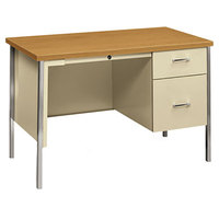 HON 34002RCL 34000 Series 45 1/4 inch x 24 inch x 29 1/2 inch Harvest / Putty Metal 3/4 Height Right Pedestal Desk