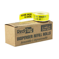 Redi-Tag 91032 Yellow 1 3/4 inch x 9/16 inch Please Sign & Date Arrow Page Flag Dispenser Refill - 720/Box
