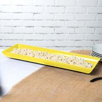 Tablecraft CW11047Y 25 inch x 8 inch x 2 1/2 inch Yellow Cast Aluminum Flared Rectangular Platter