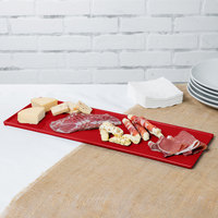 Tablecraft CW2107R 19 1/2 inch x 6 7/8 inch x 3/8 inch Red Cast Aluminum Rectangular Cooling Platter