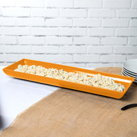 Tablecraft CW11047X 25 inch x 8 inch x 2 1/2 inch Orange Cast Aluminum Flared Rectangular Platter