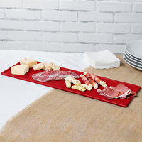 Tablecraft CW2113R 21 inch x 6 1/2 inch x 3/8 inch Red Cast Aluminum Half Long Rectangular Cooling Platter