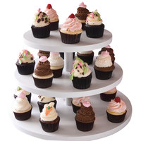 Clipper Mill by GET WR-101 18 inch White Wood Laminate 3-Tier Cupcake Stand
