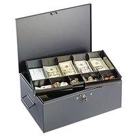 Steelmaster 221F15TGRA 15 1/4 inch x 11 1/8 inch x 6 1/8 inch Gray Extra Large Cash Box with Key Lock
