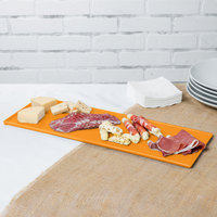 Tablecraft CW2107X 19 1/2 inch x 6 7/8 inch x 3/8 inch Orange Cast Aluminum Rectangular Cooling Platter