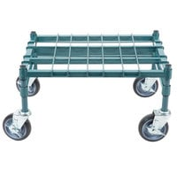Regency 18 inch x 24 inch Heavy-Duty Mobile Green Dunnage Rack with Mat