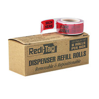 Redi-Tag 91002 Red 1 3/4 inch x 9/16 inch Sign Here Arrow Page Flag Dispenser Refill - 720/Box